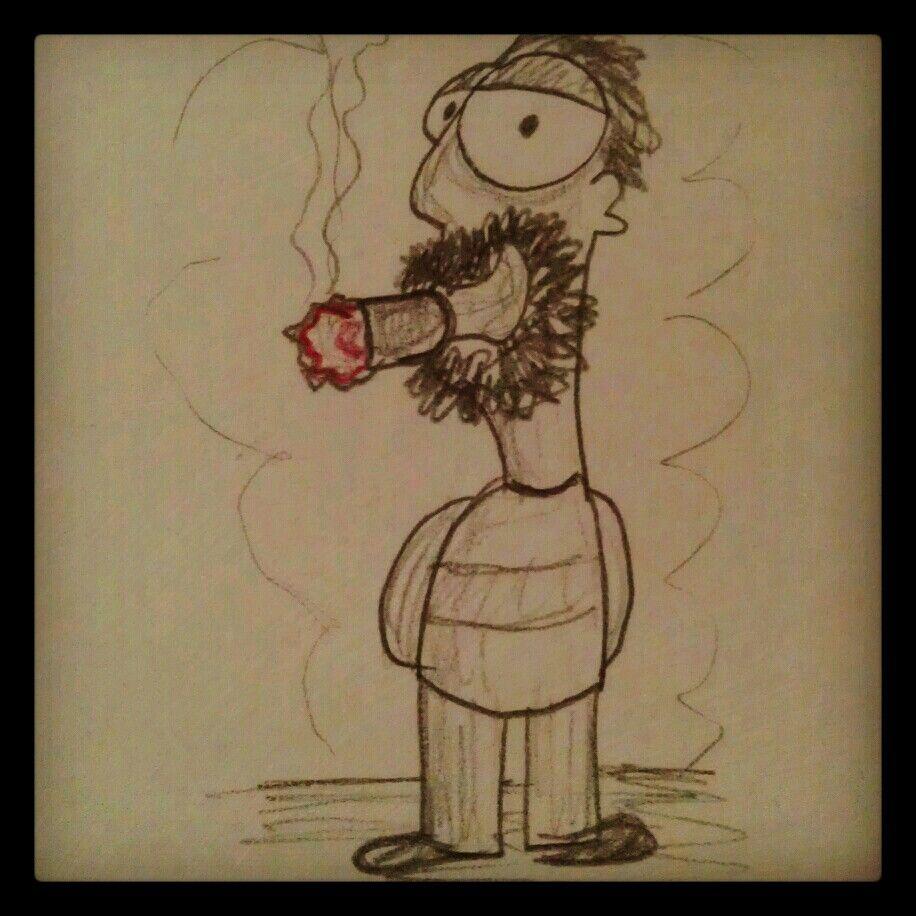 Dibujo de un hombre fumando un habano