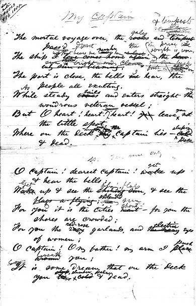 "early draft of ""o captain my captain "" by walt whitman  o captain my captain essay concordance of images library of congress manuscripts an"