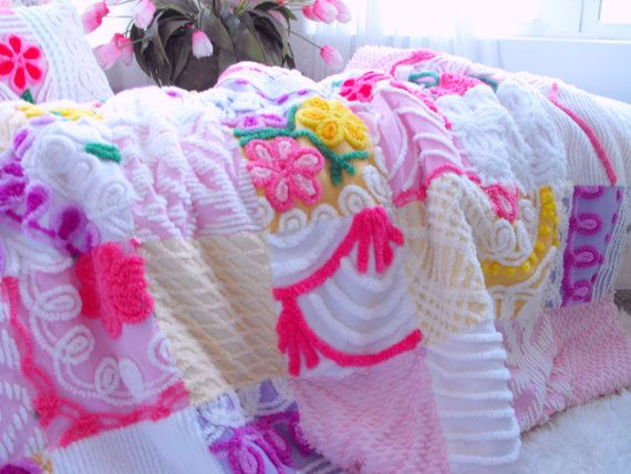 GORGEOUS WARM SNUGGLY Vintage Chenille Patchwork by thepinkpalace, $175.00