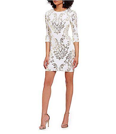 B Darlin Sequin Mirror Print Sheath Dress Dillards