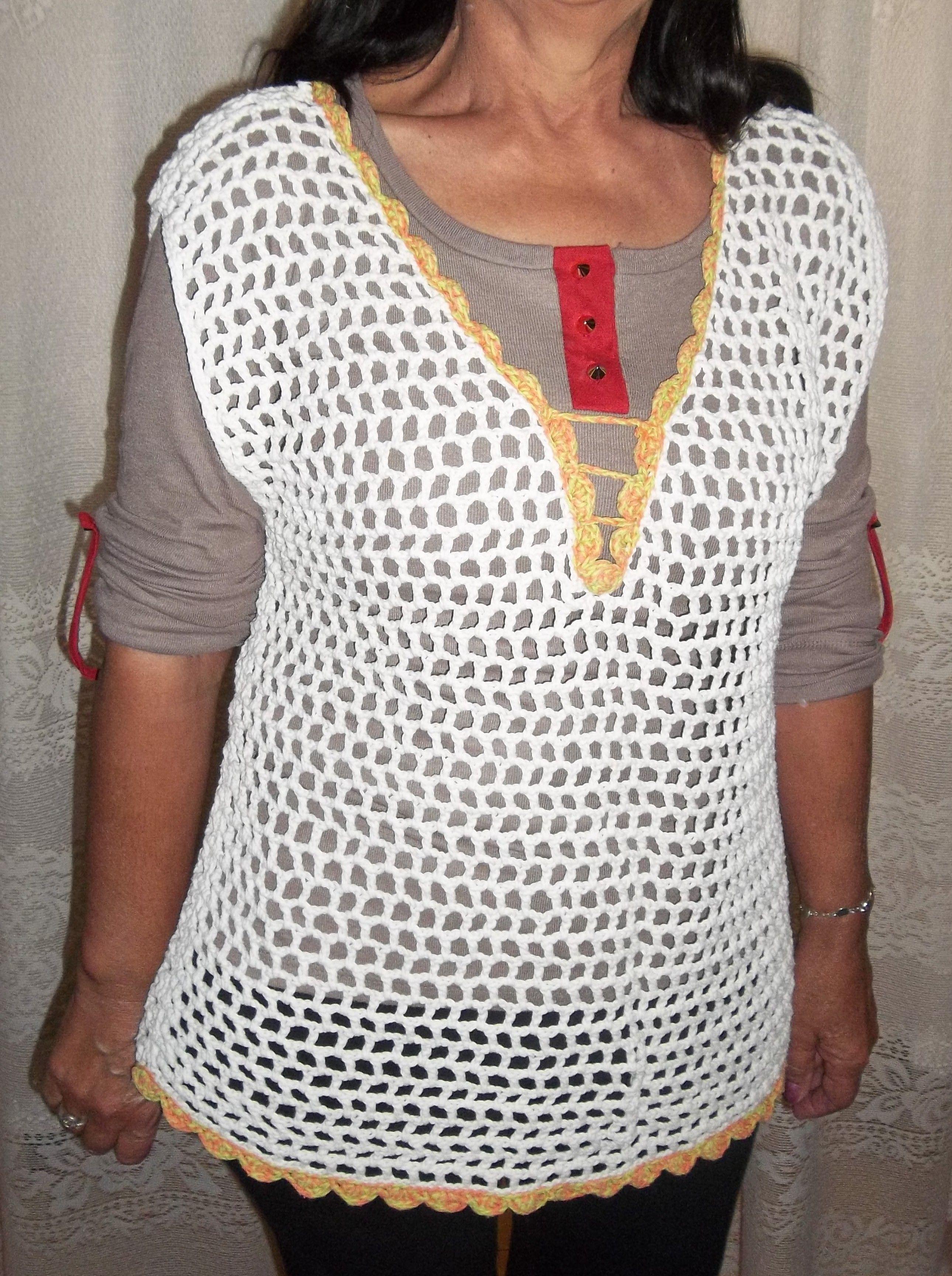 mi trbajo), blusa escote V , tejida al crochet, en punto red ...