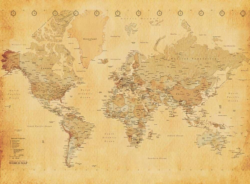 1wall Wallpaper Old World Map Giant Mural Lancashire Wallpaper