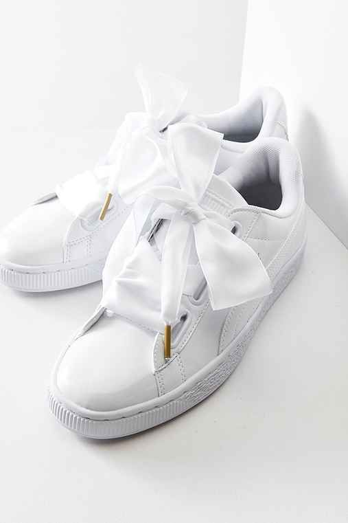 White sneaker with bows | Puma basket heart, White sneakers