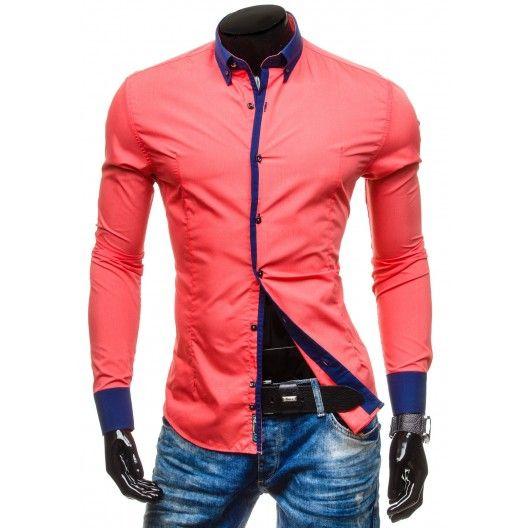 Pánska červená košeľa s modrým lemovaním - fashionday.eu