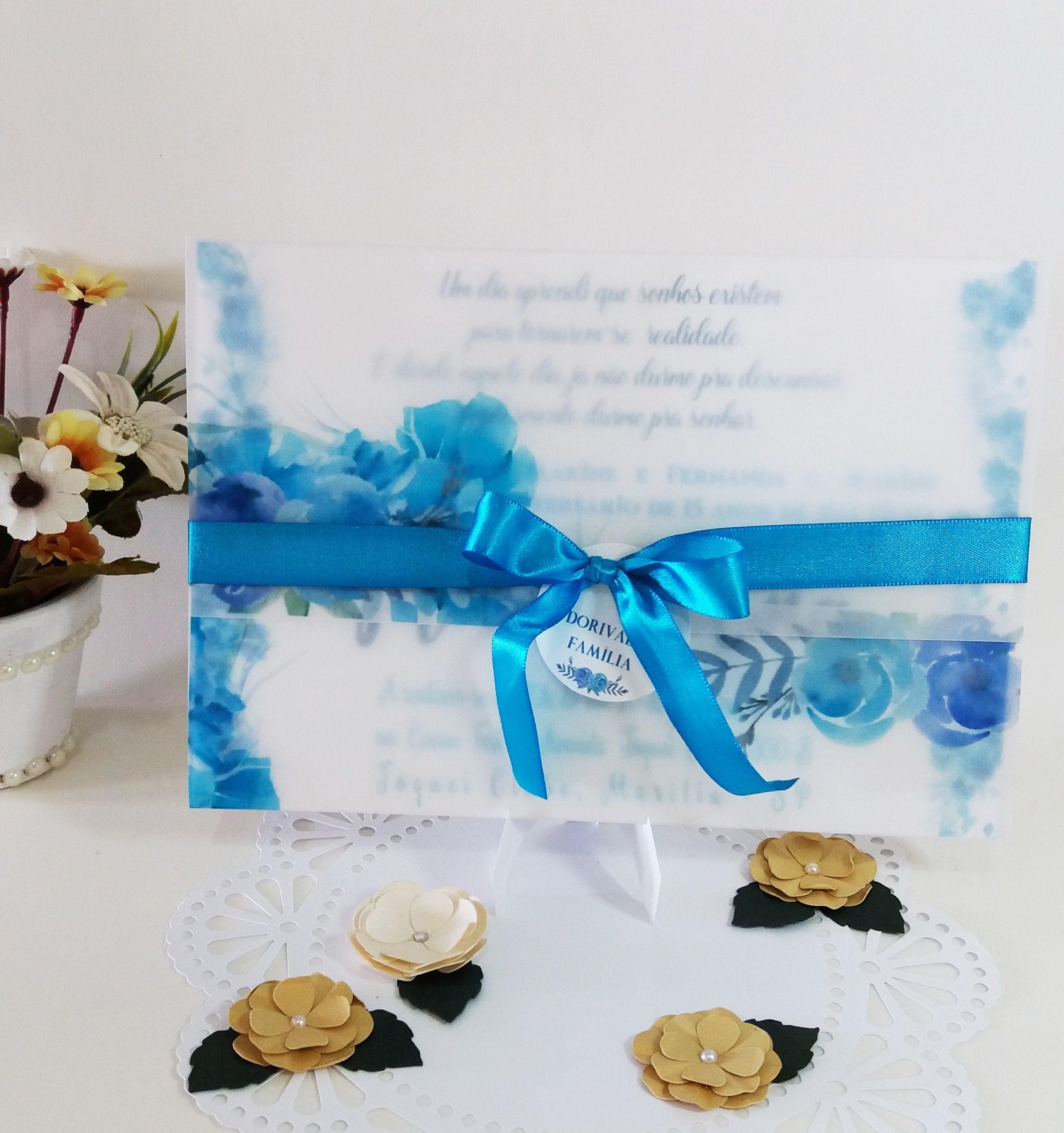 Convite De 15 Anos Azul Envelope Feito Em Papel Vegetal