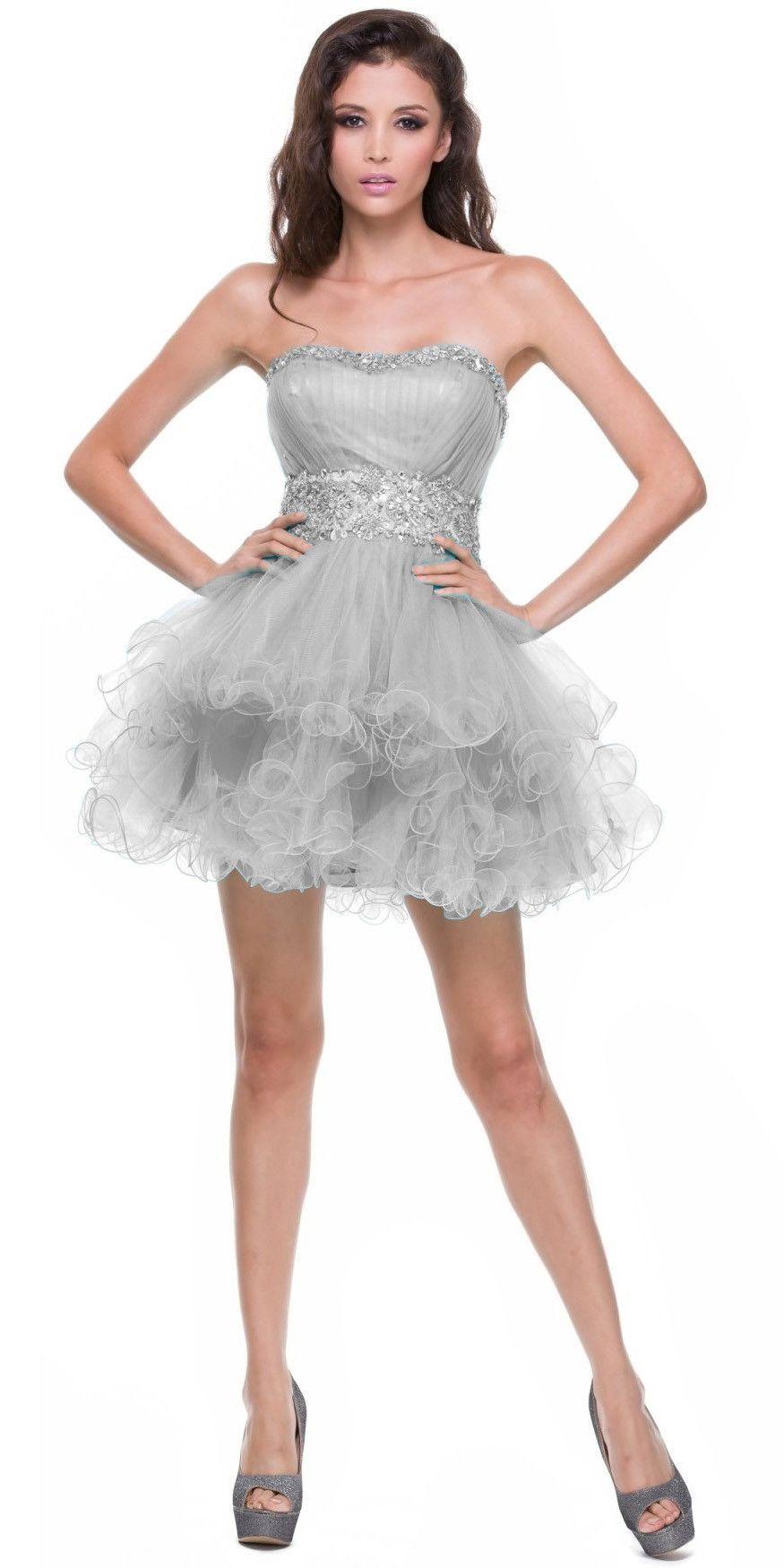 Strapless Sweetheart Silver Formal Dress Short Sequin Neckline Poofy ...