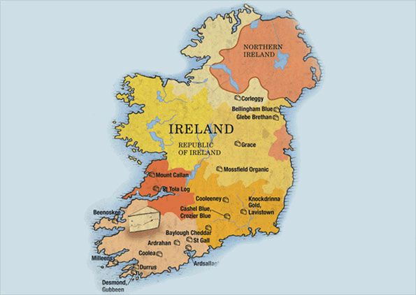 Map Of Ireland Book.Cheese Map Of Ireland From Juliet Harbutt S The World Cheese Book