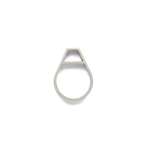 WXYZ JEWELRY - Hollow Tear Ring. Color: Silver. $170. The Hollow Tear Ring reinterprets the iconic tear drop shape by creating a bold, graphic inversion of space. Fit for a post modern muse. #jewelry #handcrafted #industrial #geometric #silver #wxyzjewelry