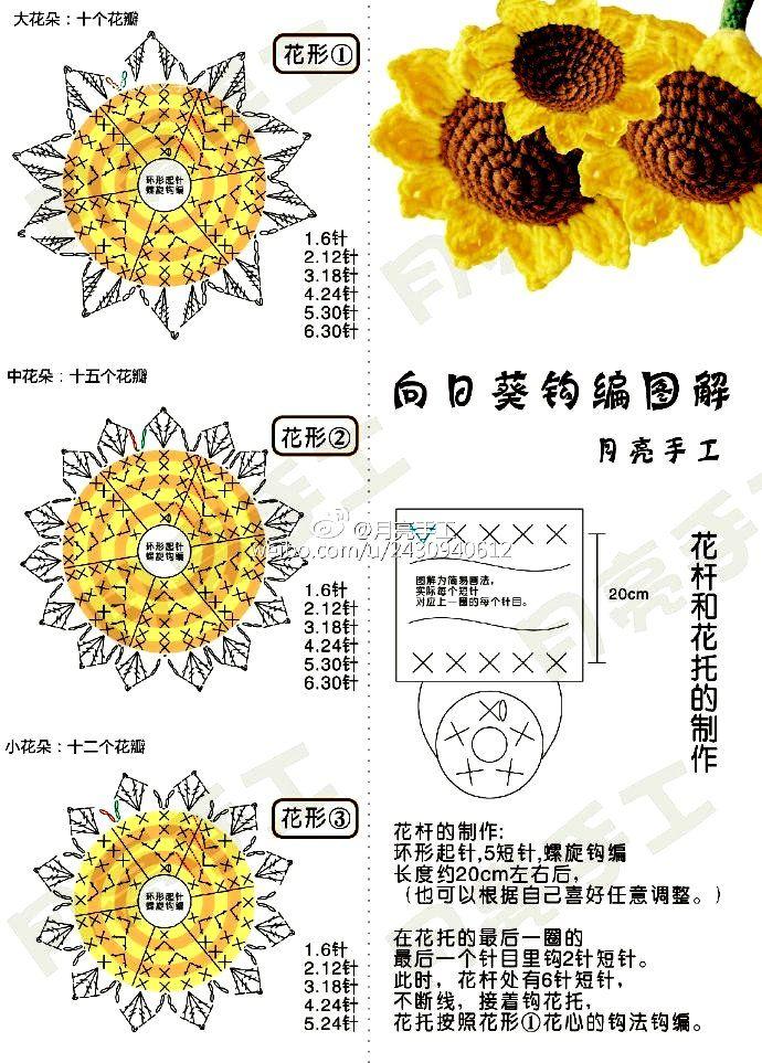 Ergahandmade Crochet Sunflower Diagrams