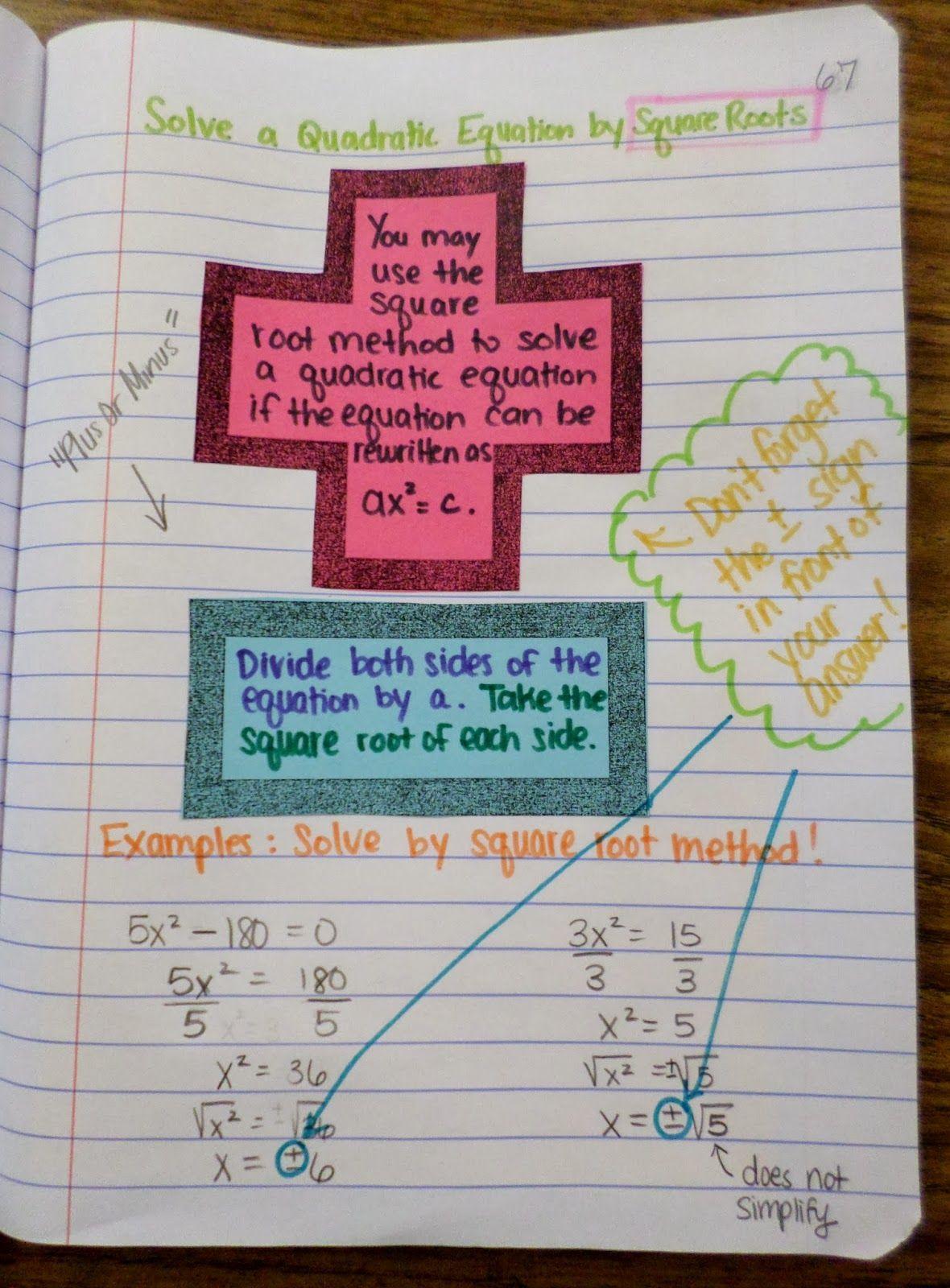 Solving Quadratics By Square Roots Math Love