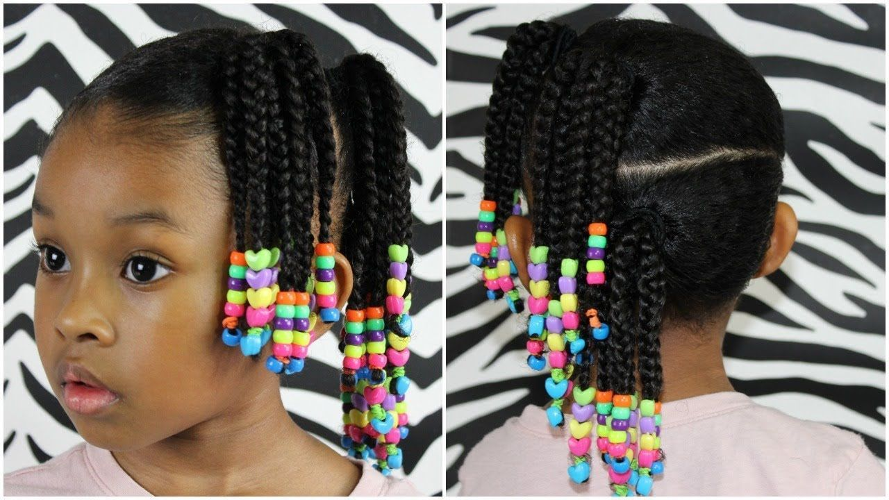 Side ponytails w beads cute easy hairstyle for little girls