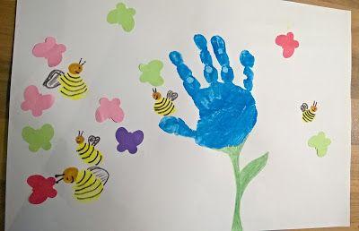 Fruhling Handabdruck Blume Kleinkinder U3 Spielideen Bastelideen