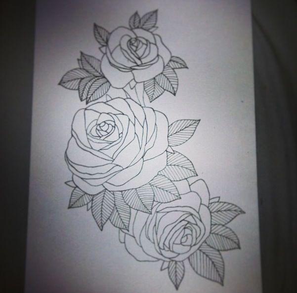 Outline Rose Thigh Tattoo Designs