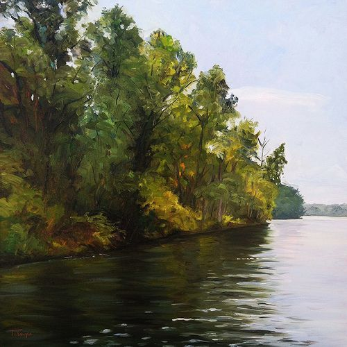 """Along The Hudson by artist Takeyce Walter Oil - 24x24"""""""