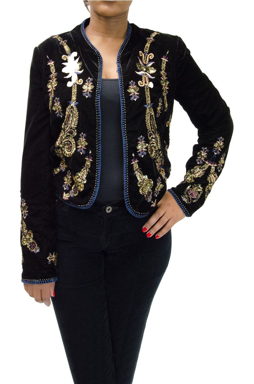81fe2f36c6a Zara Black Velvet Jacket with Sequin Design in 2019