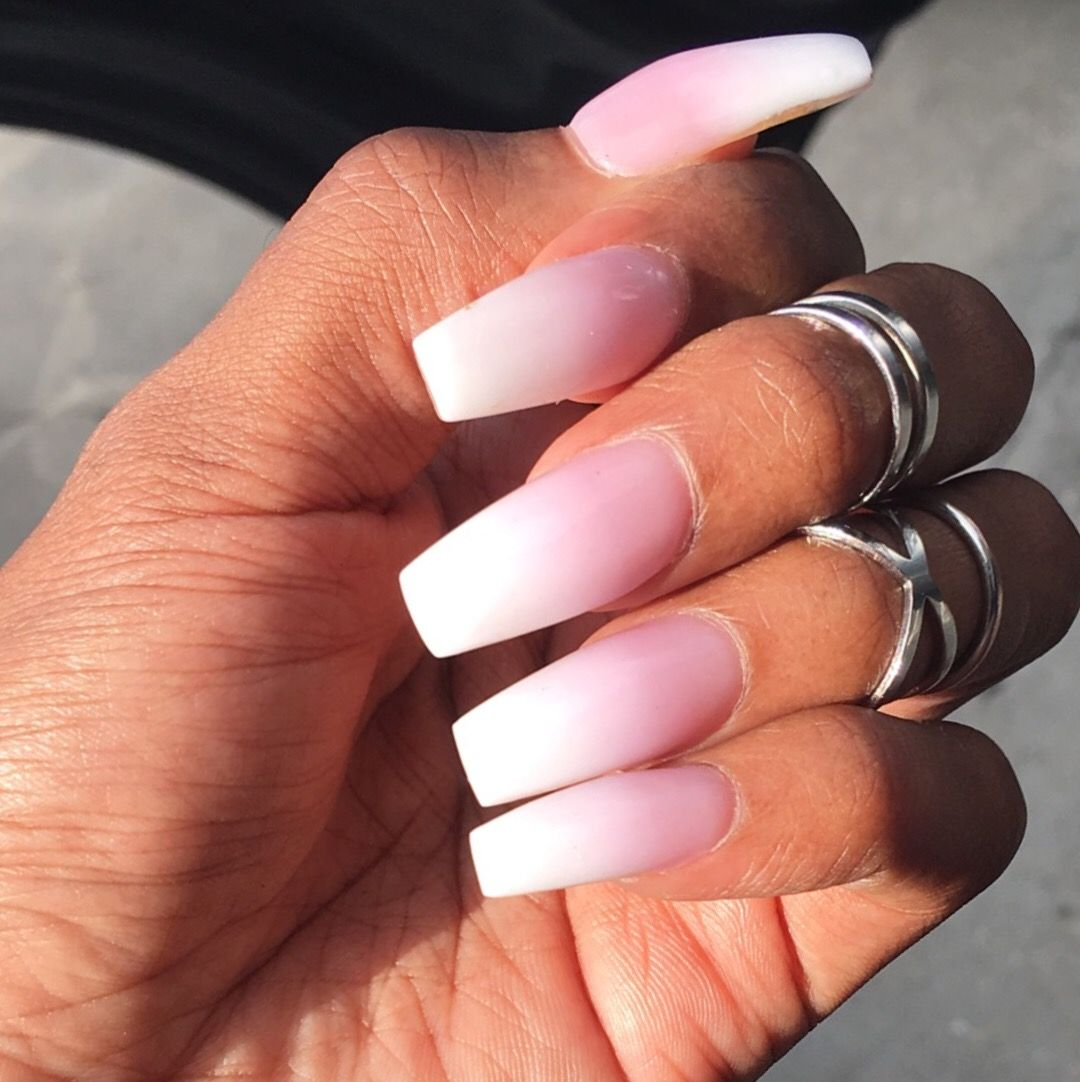 Pink And White Ombre Coffin Nails Pink Ombre Nails Pink White Nails Ombre Nails Glitter