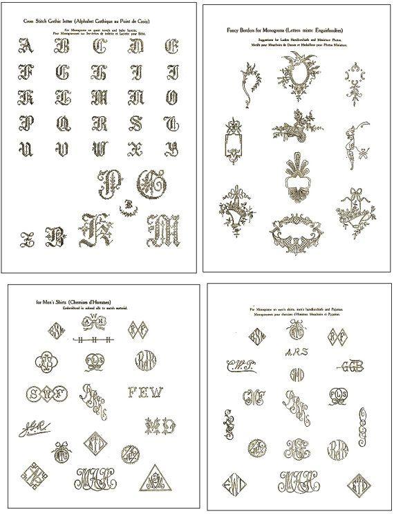 Vintage Hand Embroidery Monogram Design Patterns 100s Of Designs 66