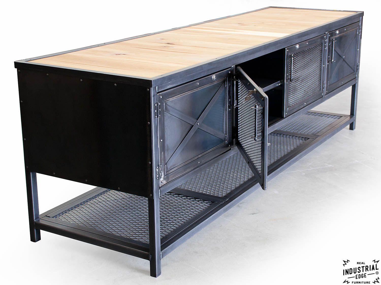 Custom Industrial Kitchen Island Reclaimed Wood Steel Real