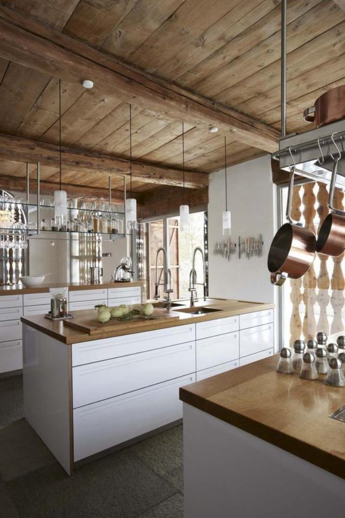 La cuisine blanche et bois en 102 photos inspirantes - Cuisine design noir et blanche ...