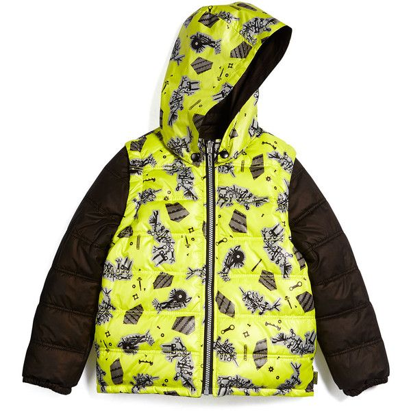Kenzo Convertible Zip-Front Puffer Jacket (4132495 BYR) ❤ liked on Polyvore featuring outerwear, jackets, bright yellow, tiger jacket, straight jacket, reversible jacket, long hooded jacket and long jacket