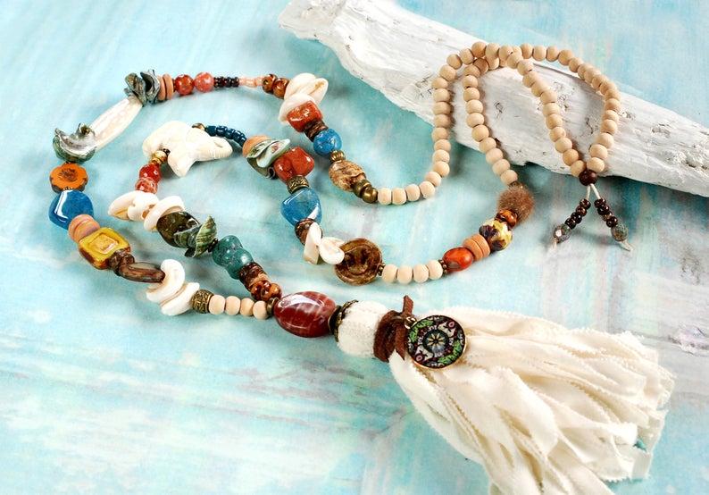 Wooden Bracelet Flowers Friendship Hippie Rope Bead Cord Beaded Boho Festival