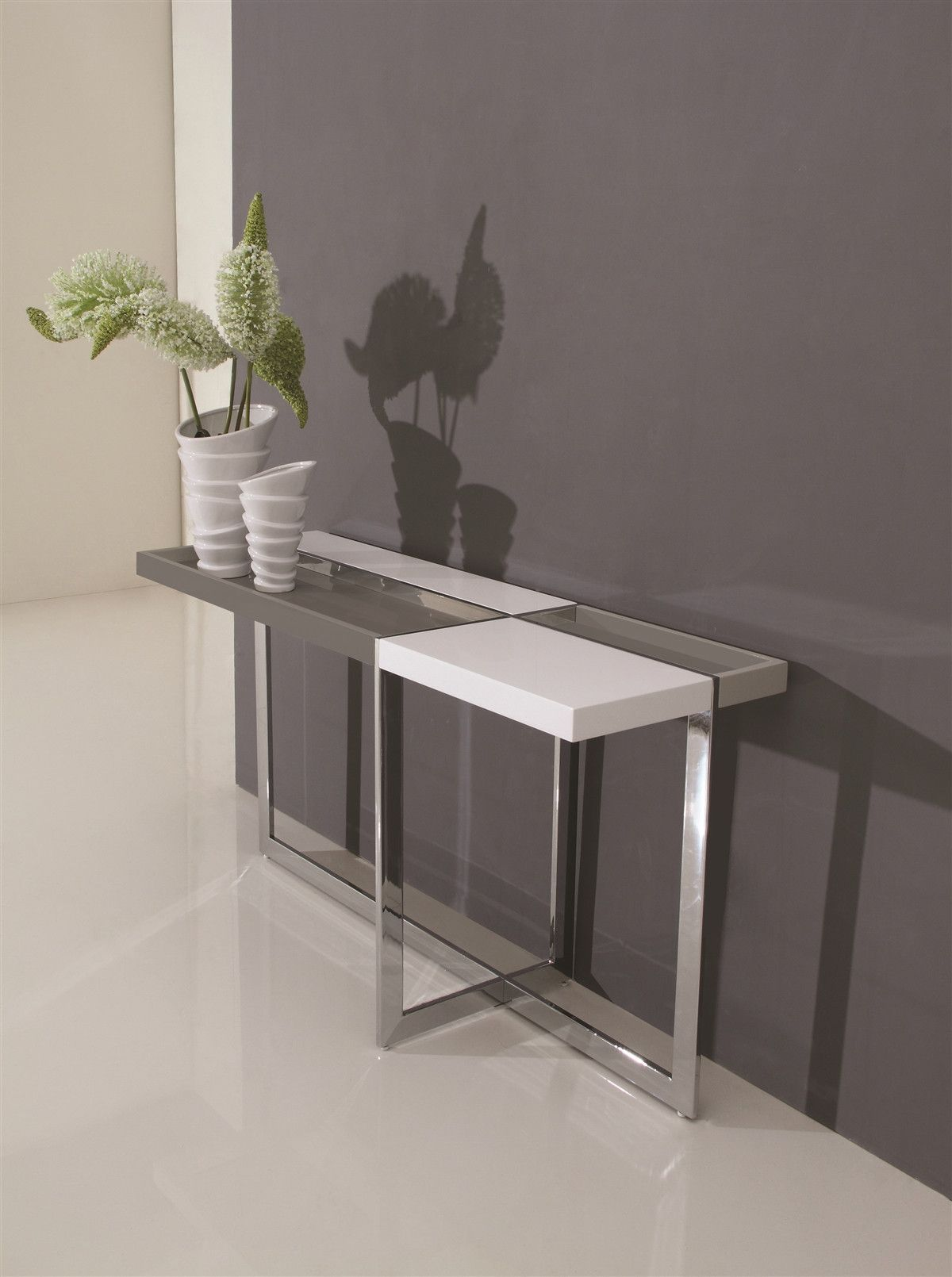 Casabianca domino high gloss white lacquer console table tc