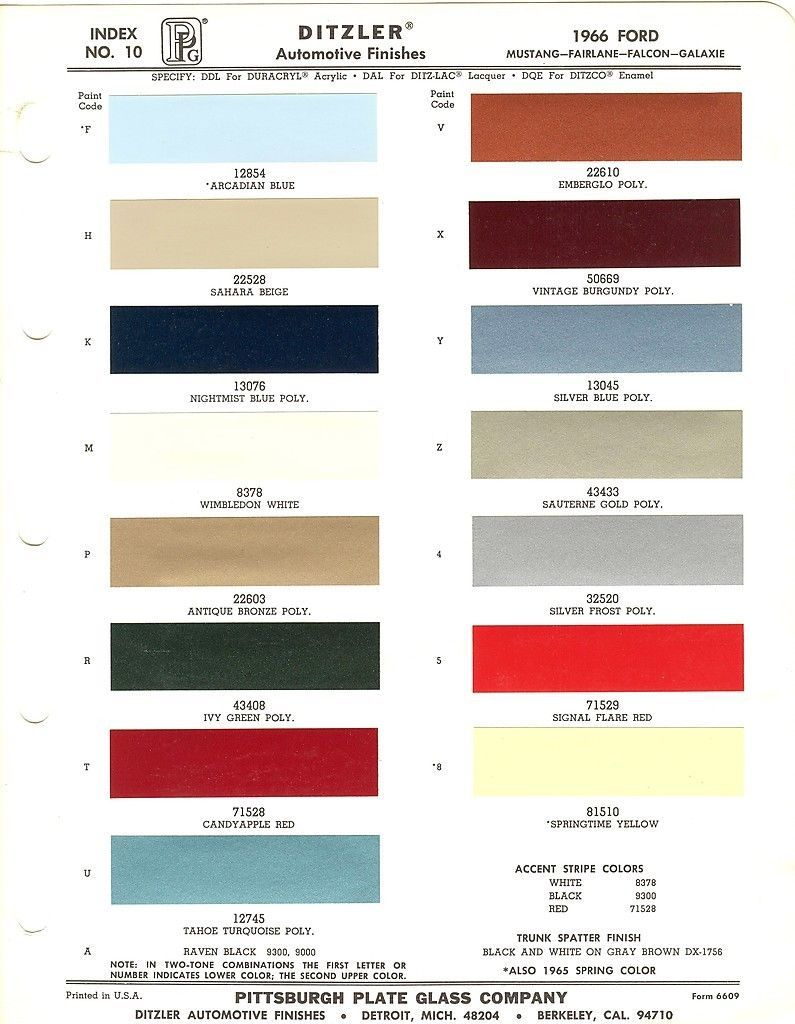 1966 Ford Mustang Fairlane Falcon Galaxie Paint Chips Sheet Ppg 1966 Ford Mustang Ford Mustang Mustang Restoration
