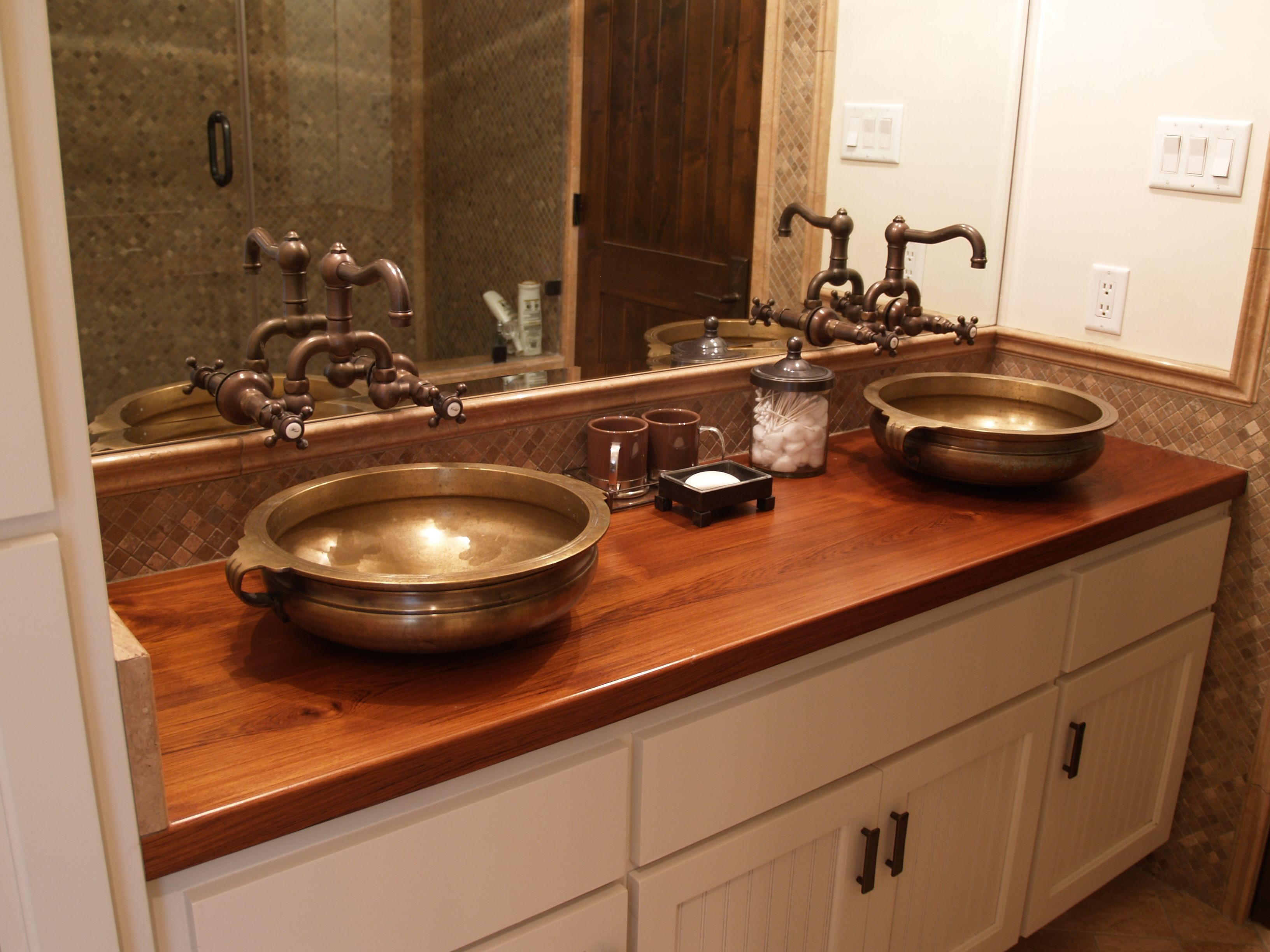 Countertops Teak Face Grain Custom Wood Vanity Countertop