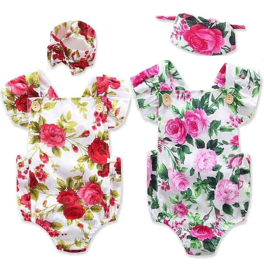 a48bedc62f1 Newborn Baby Girls Flower Jumpsuit Romper Bodysuit + Headband Clothes  Outfits