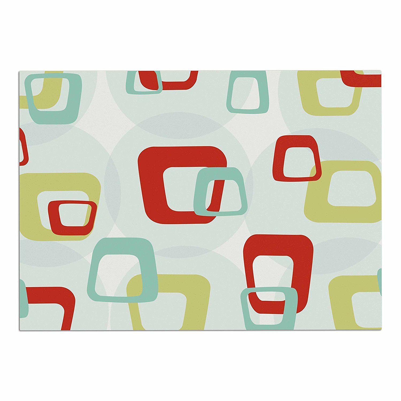 Kess inhouse kess original uretro squaresu red teal dog place mat