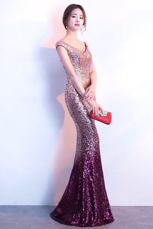 Gorgeous Off-the-Shoulder Ombre Sequins Evening Dress ...