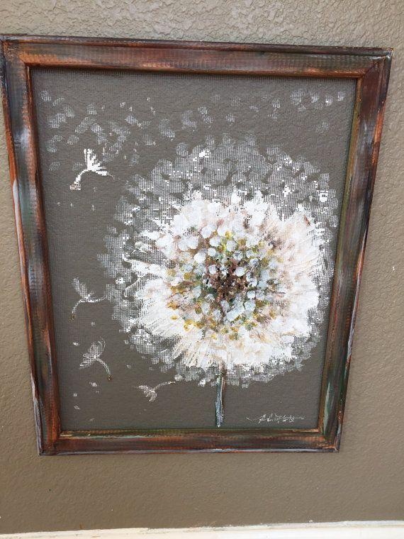 rustic art outdoor art window screen Make a wish country style recycled handmade hand painted screen art Dandelion