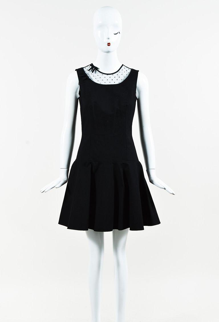 Red Black Dotted Mesh Sleeveless Drop Waist Dress Dropwaist Dress Fashion Dresses [ 1126 x 768 Pixel ]