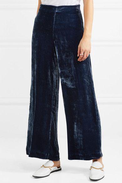 846b815d359 Staud - Margaux Crushed-velvet Wide-leg Pants - Storm blue ...