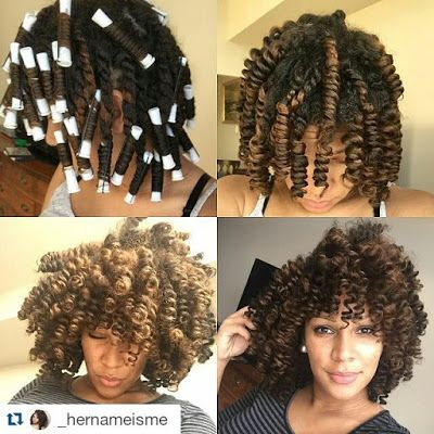 Hairstyles For Black Permed Hair Medium Length : White perm rods are used on medium length hair to create soft