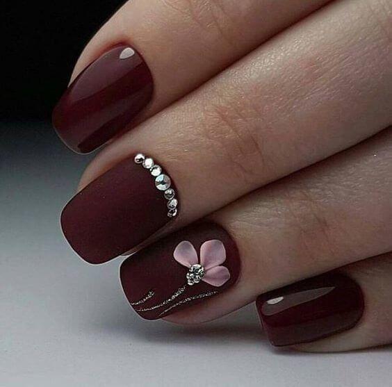 40 Cute Art Design Nails With Rhinestone Maroon Nails Floral Nails 3d Nail Designs