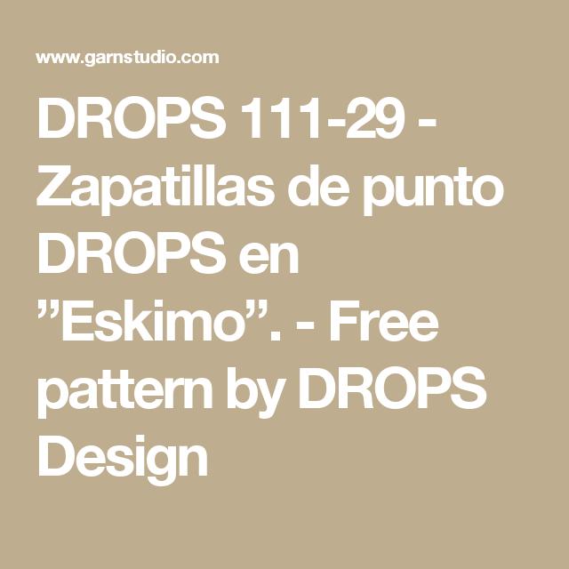 """DROPS 111-29 - Zapatillas de punto DROPS en """"Eskimo"""". - Free pattern ..."""