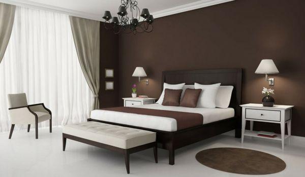 beste-wandfarbe-fürs-schlafzimmer-braun- schwarzer-kronleuchter ... - Schlafzimmer Ideen Wandgestaltung Braun