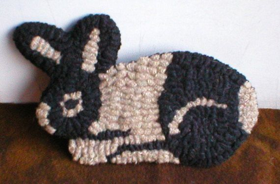 Farmhouse Decor Folkart Hooked Rug Rabbit Rue23paris Farmhouse Decor