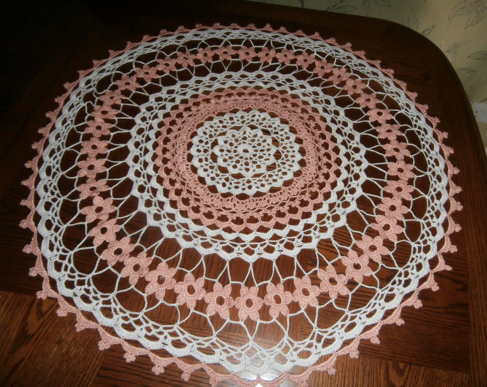 Vintage Peach Cotton Hand Crochet Lace Large Table Center or Small Round Cloth | eBay