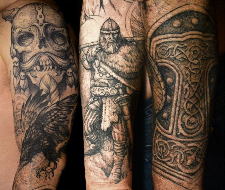viking tattoos grey ink viking tattoo on left sleeve for