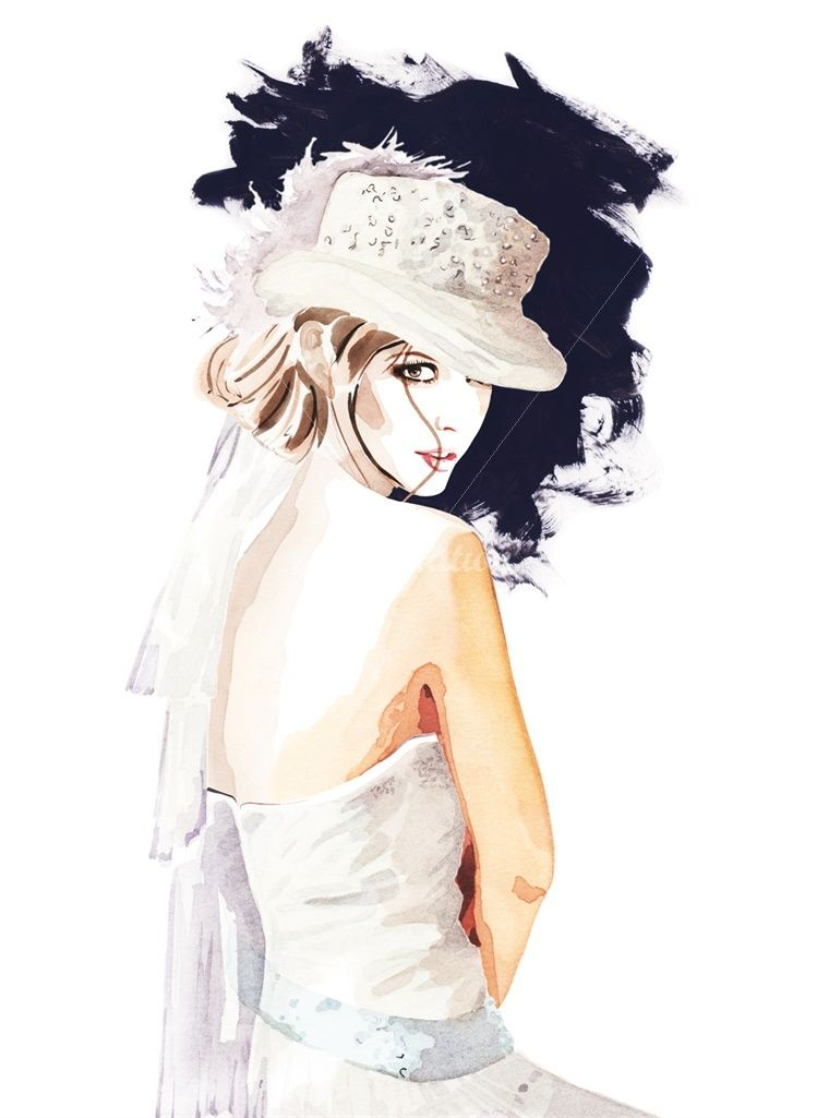Model in wedding dress with millinary hat illustration by Christian David Moore