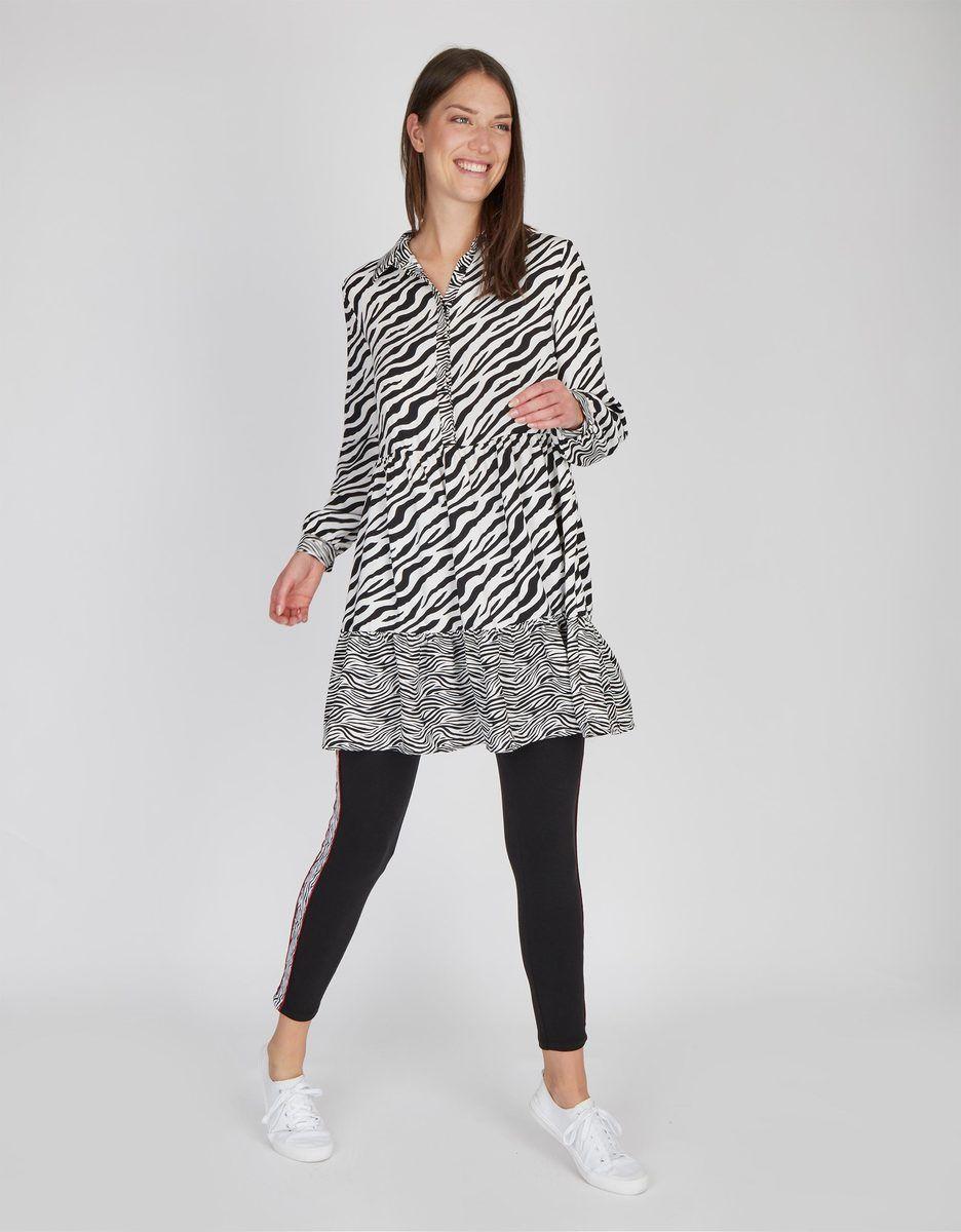 My Own Lange Tunika Bluse Mit Zebra Muster In 2020 Tunika Blusen Bluse Tunika