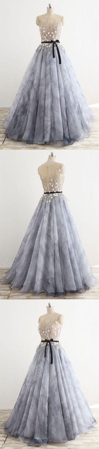 Gray round neck tulle long prom dress, gray evening dress | Kleider ...