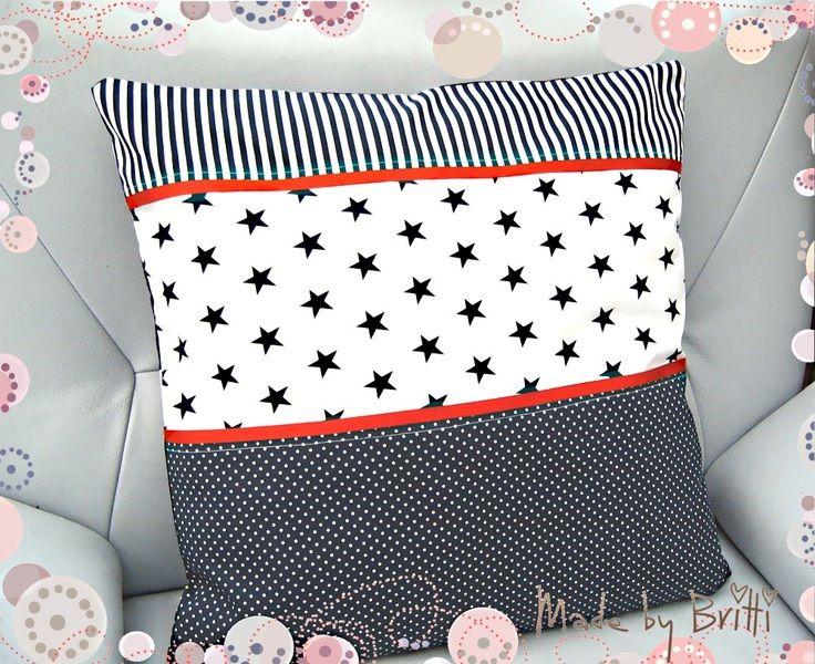 kissen kissen maritim sterne streifen 50x50 sterne ein designerst ck von made by britti. Black Bedroom Furniture Sets. Home Design Ideas
