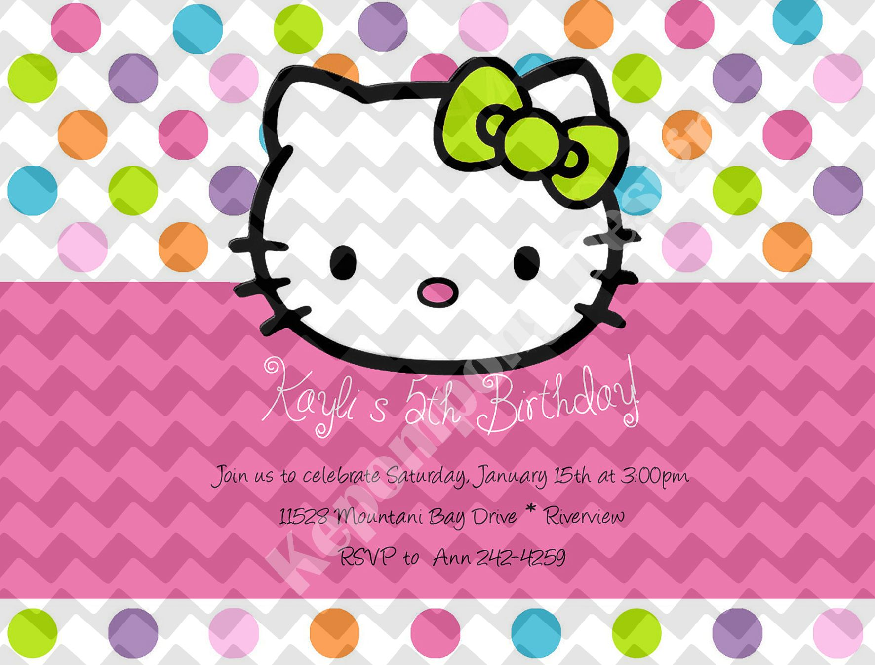Hello Kitty 2 Birthday Invitation Card Kartu Undangan Ulang Tahun