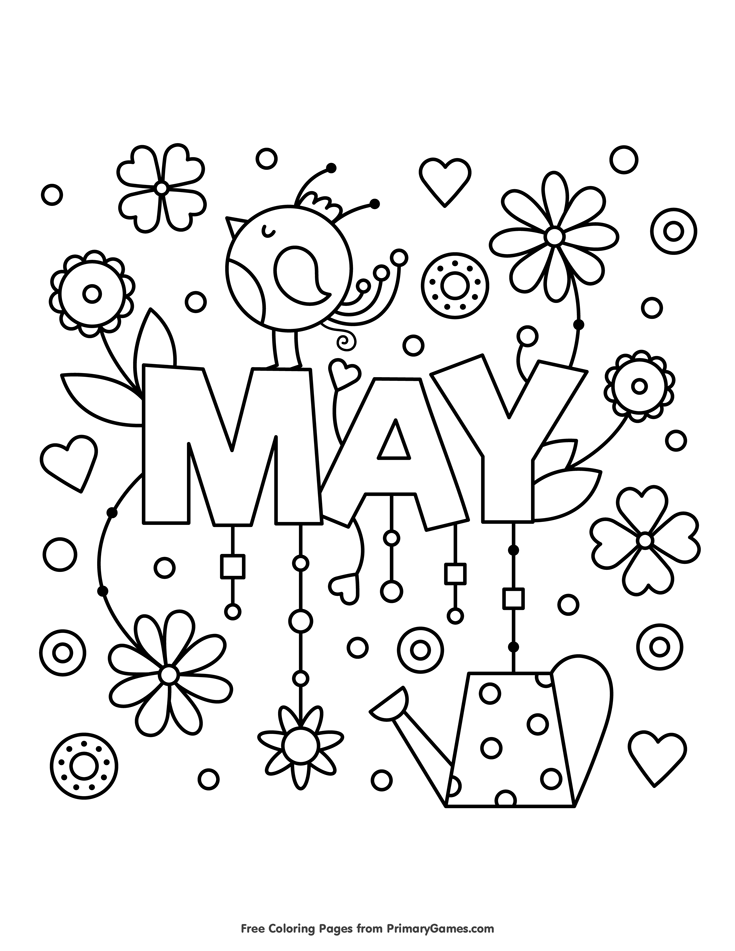 May Coloring Page  E  A Free Printable Ebook Spring Coloring Pages