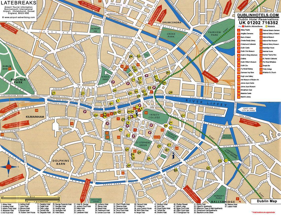 Map Of Dublin 3 Ireland.Dublin Tourist Map Dublin Ireland Mappery Dublin In 2019
