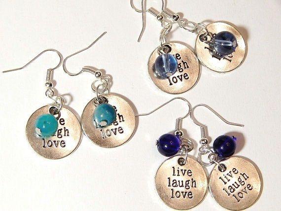 Inspirational Earrings Live Laugh Love By Murphystreasures2 12 95