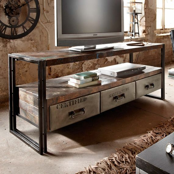 sideboard delhi industrial look gebeiztem holz metall. Black Bedroom Furniture Sets. Home Design Ideas